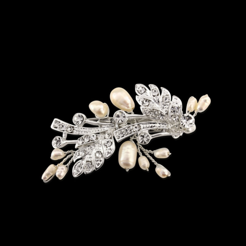 Thea Vintage Chic Silver Hair Clip With Freshwater Pearls & Crystal Encrusted Leaf Embellishments