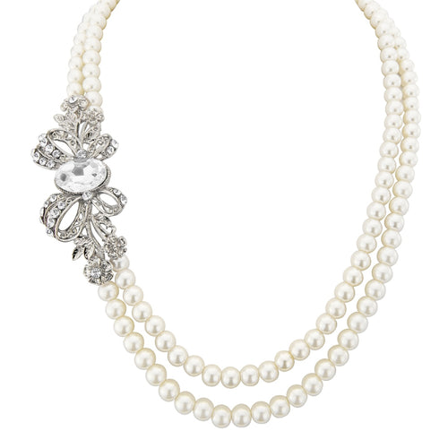 Vintage Glam Pearl Wedding Necklace