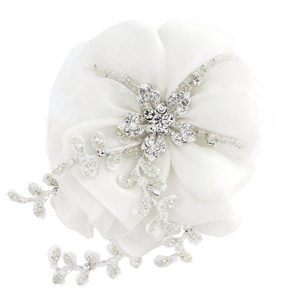 Verity Crystal Flower Bridal Headpiece In White
