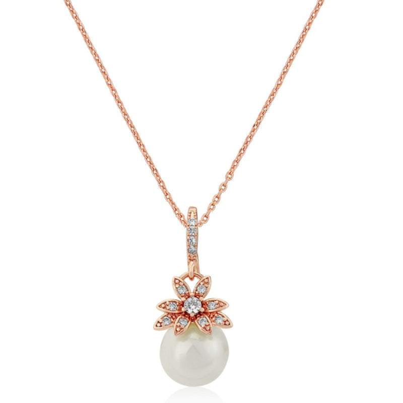Vintage Chic Pearl Rose Gold Wedding Necklace