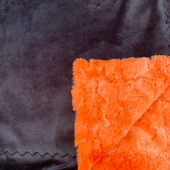 Adult Minky Blanket - Black and Orange Lava Luxe