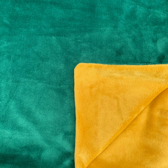Adult Minky Blanket - Emerald Green and Gold Cuddle
