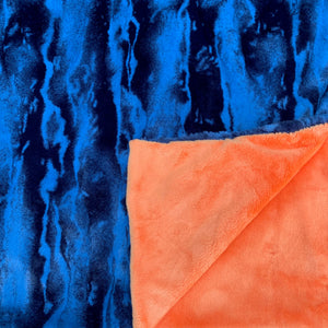 Adult Minky Blanket - Orange and Blue Chambray