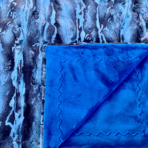 Adult Minky Blanket-Royal Blue and Blue Chambray Luxe