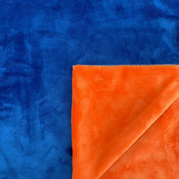 Adult Minky Blanket- Royal Blue and Orange Cuddle