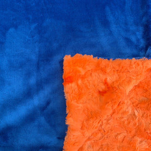 Adult Minky Blanket- Royal Blue and Orange Lava Luxe