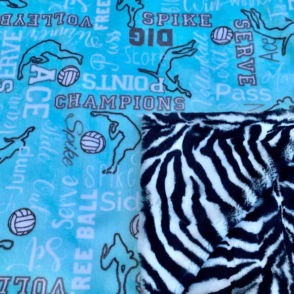 Adult Minky Blanket-Volleyball Saltwater and Zebra Luxe