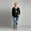 Love Heart - Black & Silver Long Sleeve Yoga Top