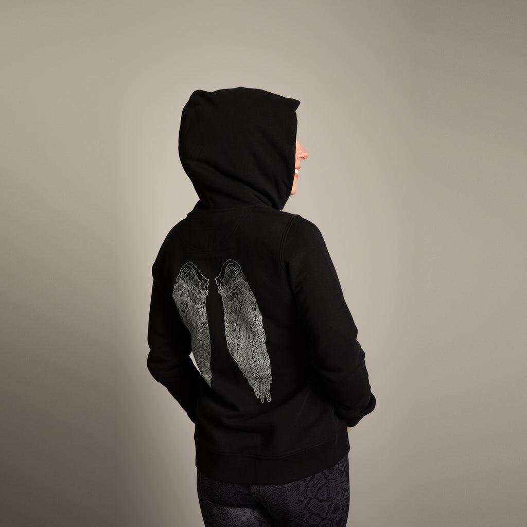 Angel Wings- Black / Silver Yoga Hoodie