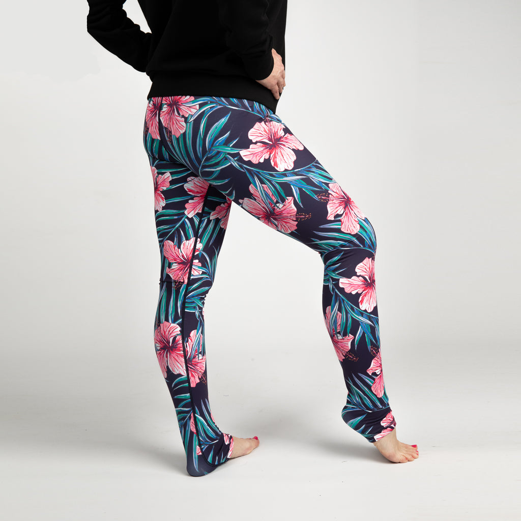 Hibiscus - Higher Waisted - Floral Print Leggings - Full Length