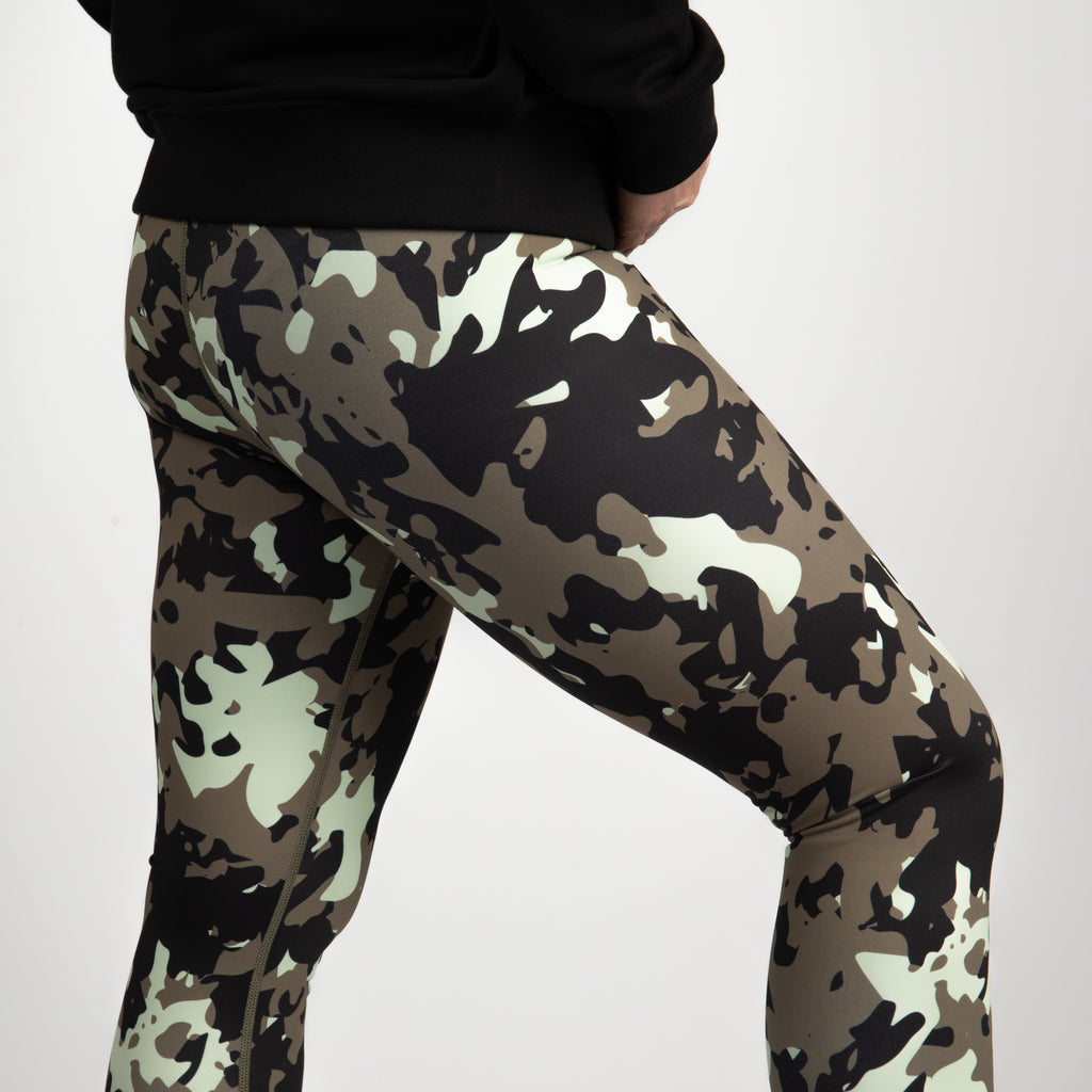 Khaki Camo - Higher Waisted Camo Print Yoga Leggings - Full Length
