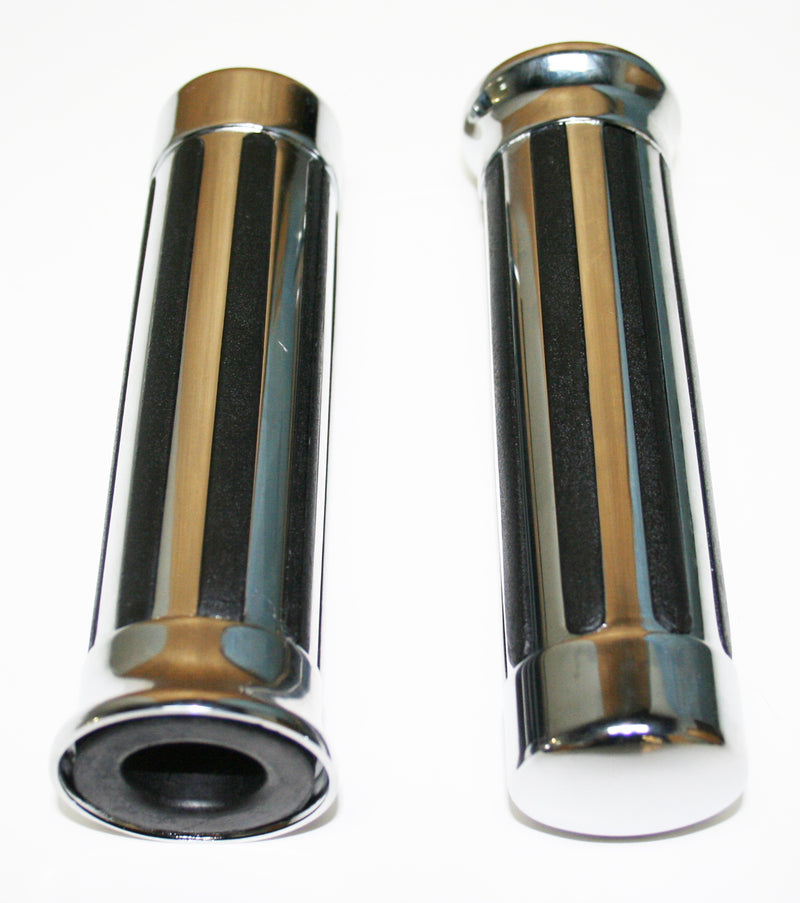 "Slotted Buffalo Chrome Style 7/8"" Grip Set - Goldwingparts.com"