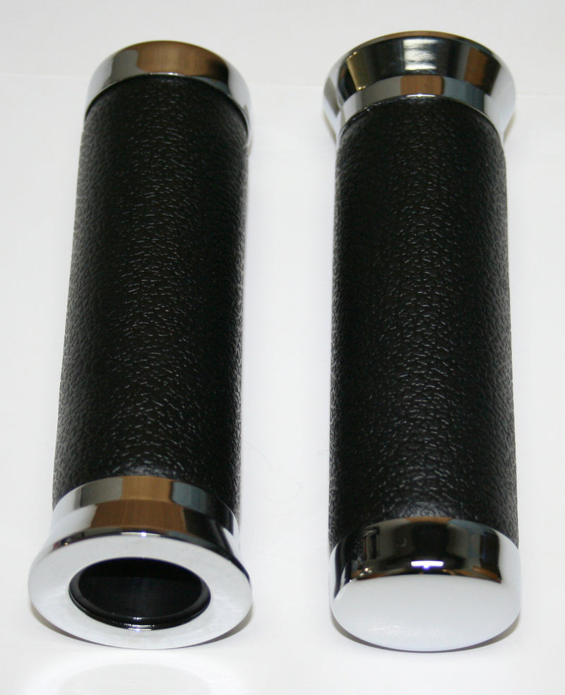 "Genuine Black Leather Chrome End Style 7/8"" Grip Set - Goldwingparts.com"