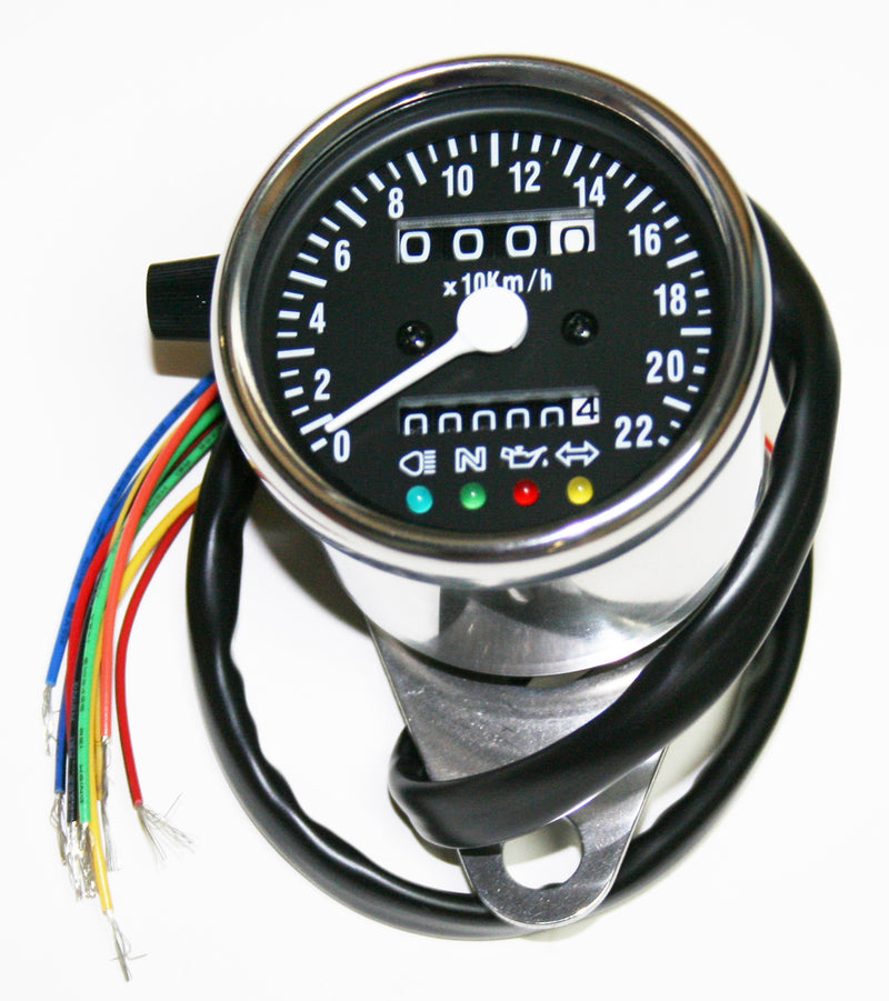 Deluxe Mini Custom Speedometer-KPH ~ Black Face Plate - Goldwingparts.com