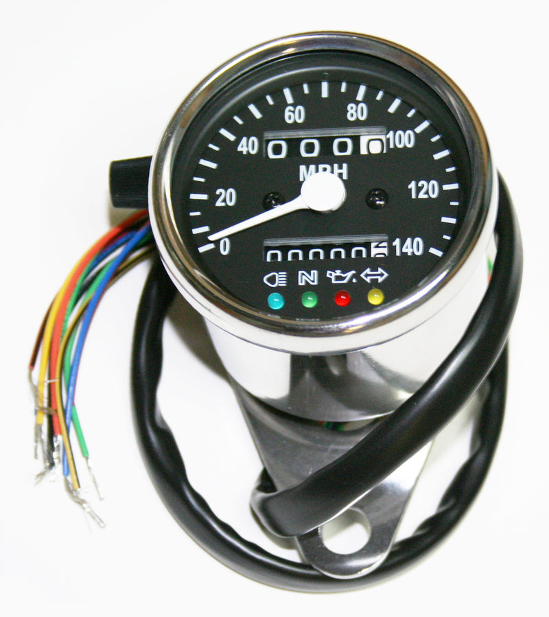 Deluxe Mini Custom Speedometer-MPH ~ Black Face Plate - Goldwingparts.com