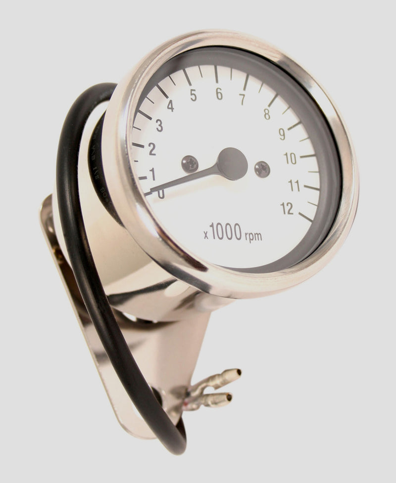 Deluxe Mini Custom Tachometer ~ White Face Plate - Goldwingparts.com