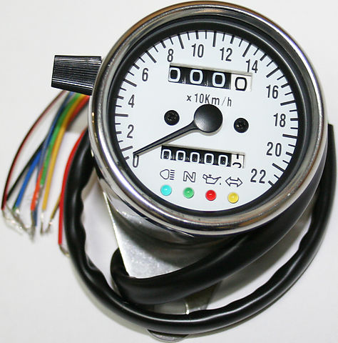 Deluxe Mini Custom Speedometer-KPH ~ White Face Plate - Goldwingparts.com