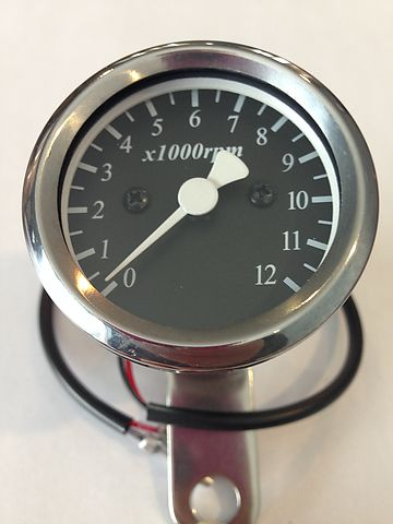 Micro Custom Tachometer ~ Black Face Plate - Goldwingparts.com