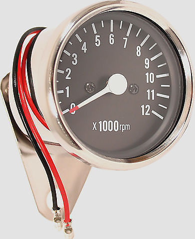 Deluxe Mini Custom Tachometer ~ Black Face Plate - Goldwingparts.com