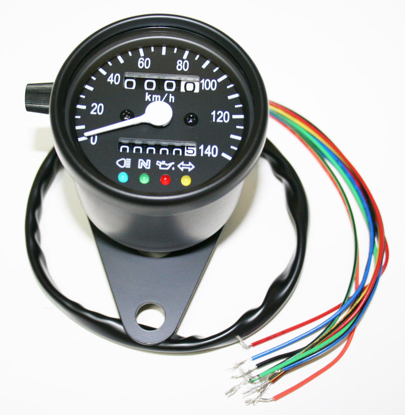 Deluxe Mini Custom Speedometer-KPH ~  All Black - Goldwingparts.com
