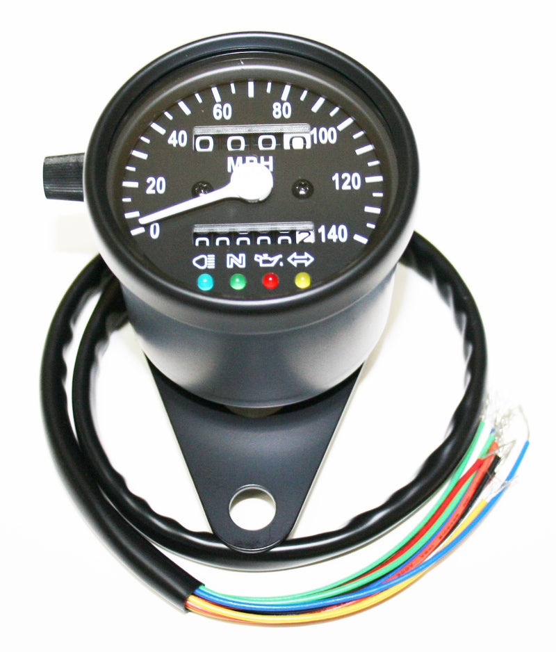 Deluxe Mini Custom Speedometer-MPH ~ All Black - Goldwingparts.com