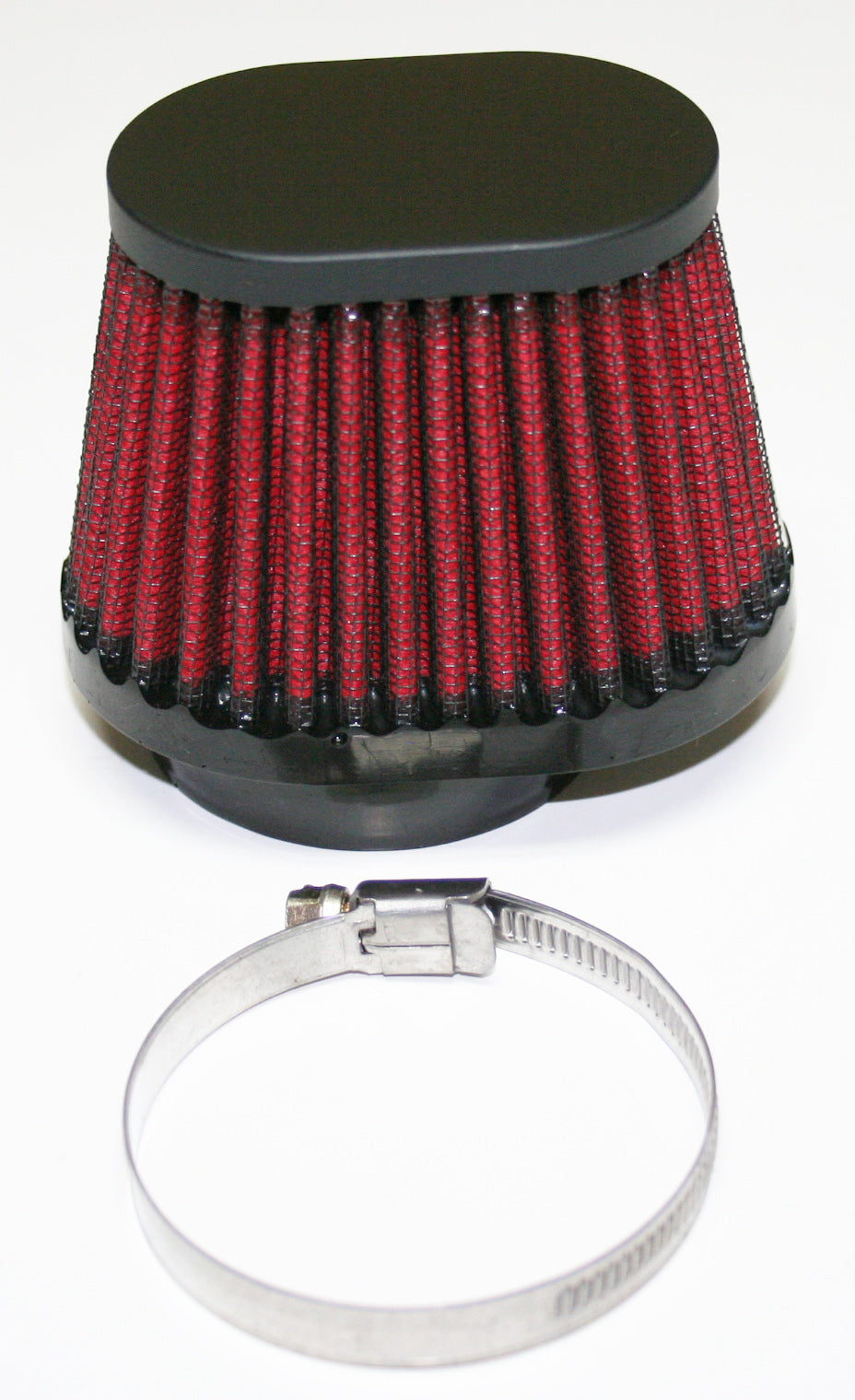 Black Oval Cap Air Filter 52mm With Red Filter Element - Goldwingparts.com