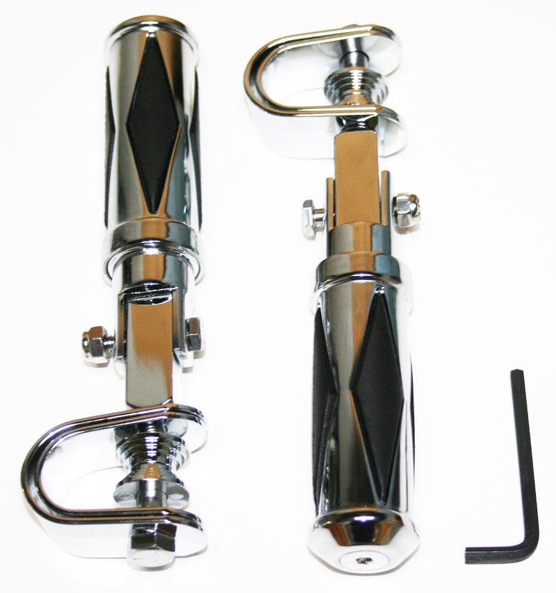 Custom Diamond Pattern Chrome Crash Bar Highway Footpeg Set - Goldwingparts.com