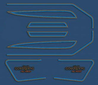GL1000K 1977 Complete Decal Set ~ Candy Sirus Blue Model - Goldwingparts.com