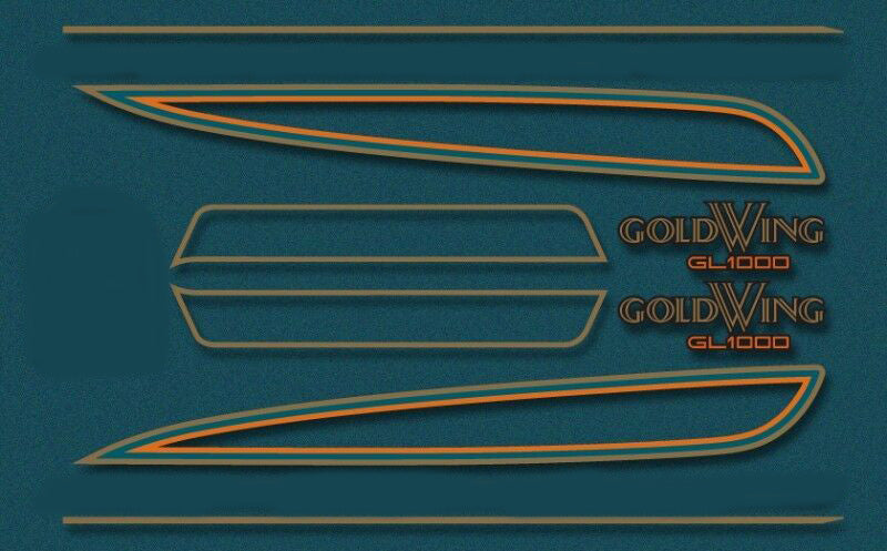 GL1000K 1976 Complete Decal Set ~ Candy Blue Green Model - Goldwingparts.com