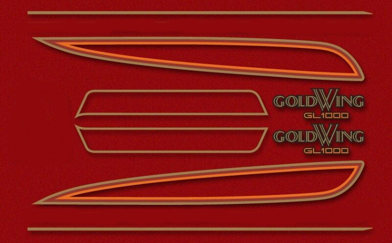 GL1000K 1976 Complete Decal Set ~ Candy Antares Red Model - Goldwingparts.com