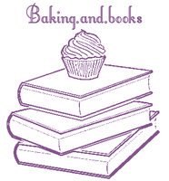 A stack of three books, pages outwards, with a cupcake on the top, and the phrase Baking.and.books on the top, all in purple lineart.