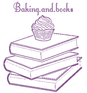 A cupcake, on top of a stack of three books, with Baking.and.books written above it.