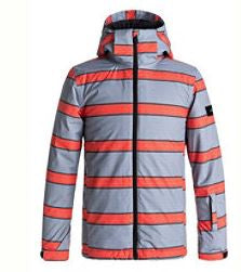 QUIKSILVER Kids Mission / Snow Jacket - Mandarin Red Double Striped