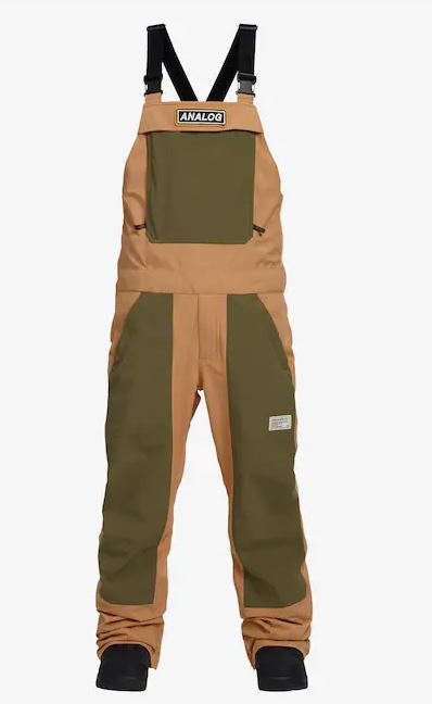 Analog Ice Out Mens Snowboard ski Snow Bib Pants - Camel/Dusty Olive Brand New
