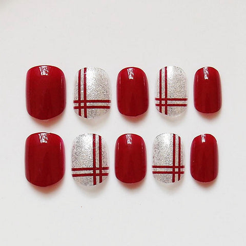 Wine Red Double Wire Fake Nails Bride Short Design Full Cover False Nails - FOB:US$ - MOQ: