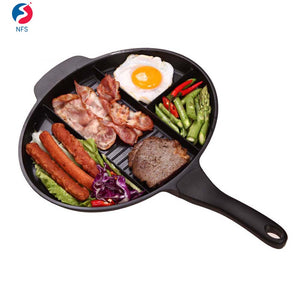 4 Section Divided Aluminum Non Stick Fry Pan Induction Cooking Pan - FOB:US$ - MOQ:
