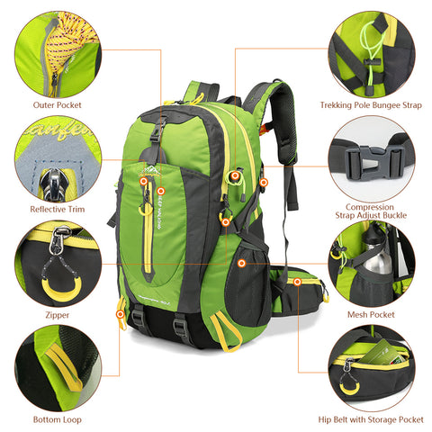 40l Waterproof Backpack Hiking Bag Cycling Climbing Backpack Laptop Rucksack - FOB:US$ - MOQ: