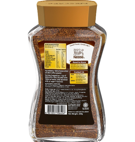 Arabica & Robusta Nescafe Gold 200g Coffee - FOB:US$59.40 - MOQ:960 Boxes
