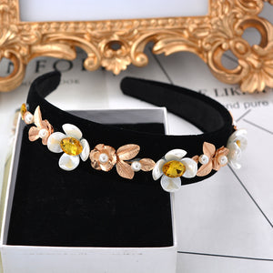 Baroque Flowers Soft Hair Hoop Imitation Pearlshair Band Crown - FOB:US$ - MOQ: