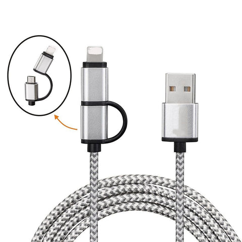 2 in 1 Nylon Braided Fast Charging USB Cable Mobile - FOB:US$0.93 - MOQ:300