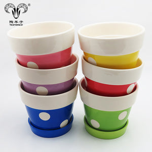 Blue Pink White Flower Pot Round Cute Plant Pots - FOB:US$ - MOQ: