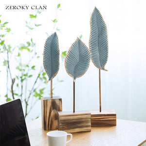Ceramic Leaf-shape Home Decor Office Decor With Wood Base Gift - FOB:US$ - MOQ:
