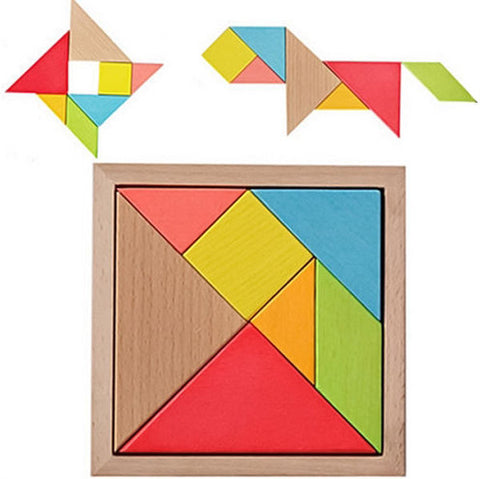 Color Wooden Tangram Brain Teaser Puzzle Educational Developmental Kids Toy - FOB:US$ - MOQ: