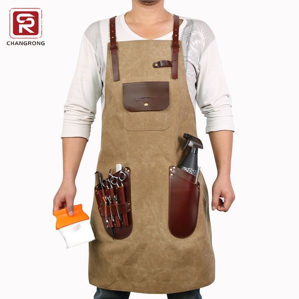 Heavy Duty Waterproof Work Tool Barber Apron With Leather Cross Back Strap - FOB:US$ - MOQ: