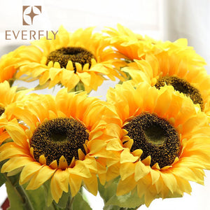 Custom Decoration Sunflower Artificial Flower Dye Silk Flower - FOB:US$ - MOQ: