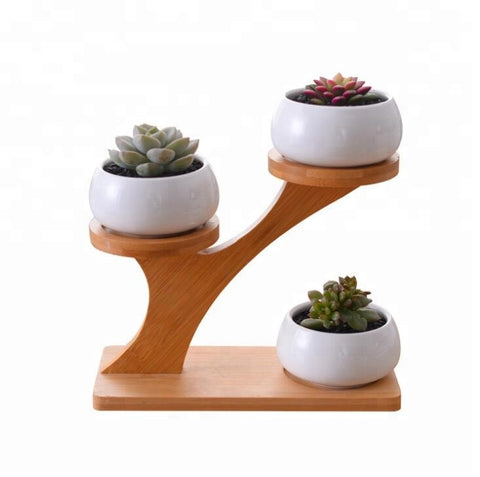 Ceramic Flower Pot Ceramic Succulent Plant Pot With Bamboo Holder - FOB:US$ - MOQ: