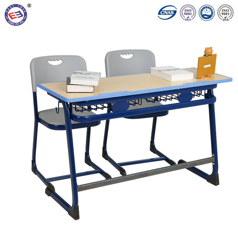 Foshan School Desk And Chair Classroom Standard Size Double Student Desk Chair - FOB:US$ - MOQ: