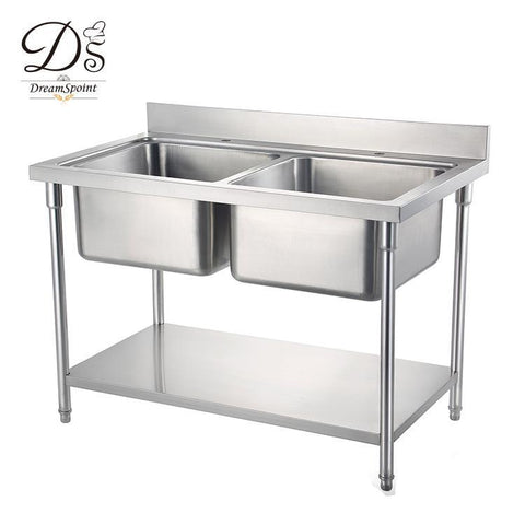 Free Standing Commercial Kitchen Sink Stainless Steel Double Sink - Buy Stainless Steel Double Sink,Kitchen Sink,Free Standing Kitchen Sink Product on Alibaba.com