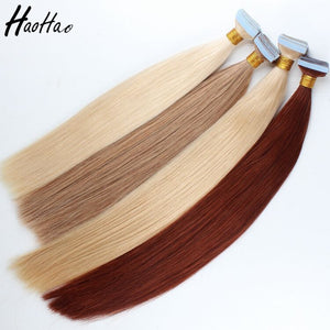 Haohao Hair Product Double Drawn European Virgin Human Tape Hair Extension - FOB:US$ - MOQ: