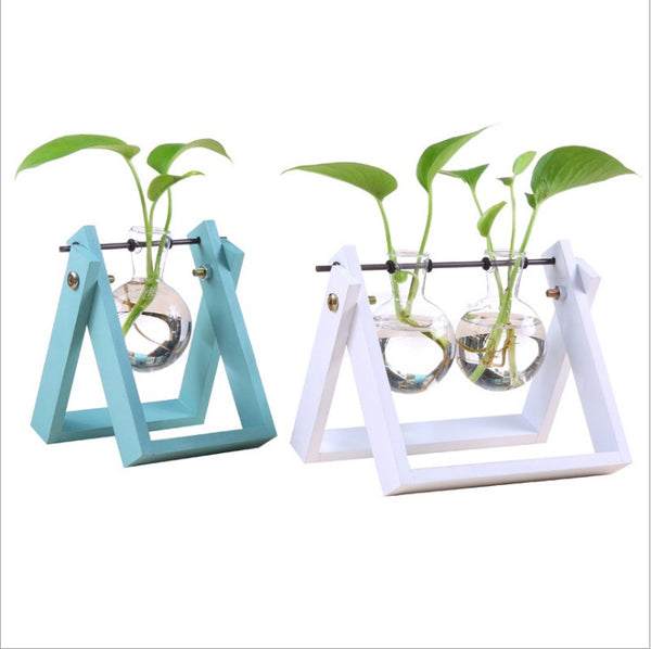 Artificial Desktop Decoration Tube/buld Glass Planter Glass Vase With Metal Stand/wood Stand Base - FOB:US$ - MOQ: